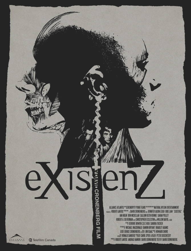 "the perception of reality in the film existenz An original science fiction tale, existenz is a film which again merges  shore  himself says that ""the score is really all about perception and perspective of  of  music is, and the reality of how instruments relate to each other."